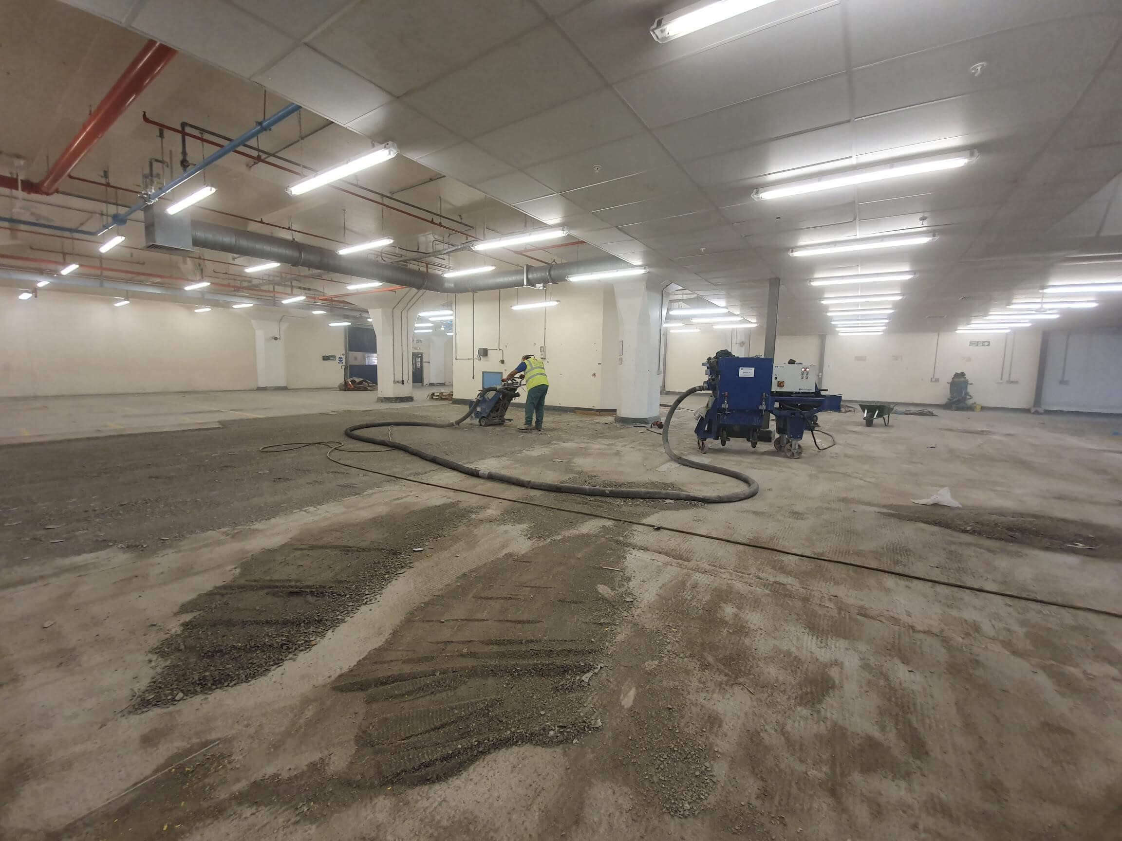 Floor preparation of factory in Nottinghamm