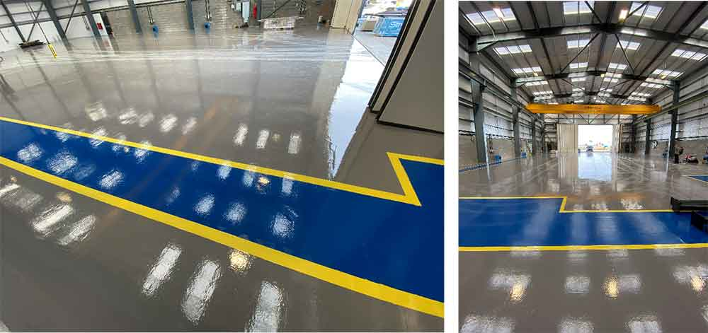 Line Markings added to epoxy floor finish for safety